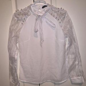 beaded white blouse